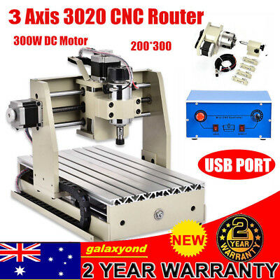 Usb 3 Axis Cnc Router Engraver Milling Drilling Cutting Machine 3020 300W Cutter