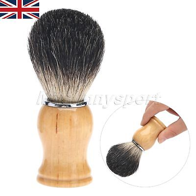 Men Gift Silvertip Best Pure Hair Shave Brush Wood Handle Barber Tool UK Stock