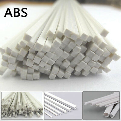 White ABS Styrene Plastic Strip Tube Round Square Bar Rod Stick Model 250mm