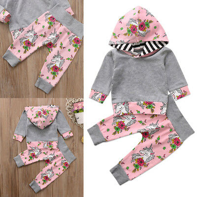 UK STOCK Unicorn Kids Baby Girl Top Hoodie T-shirt+Floral Pants Outfit Clothes