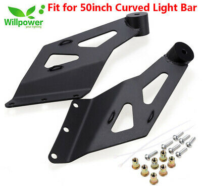 Top Windshield Roof 50inch Curved Led Light Bar Offroad Mounting Brackets Mounts