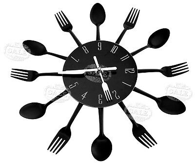 Modern Black Cutlery Retro Wall Clock Fork & Spoon Kitchen Decoration New MM