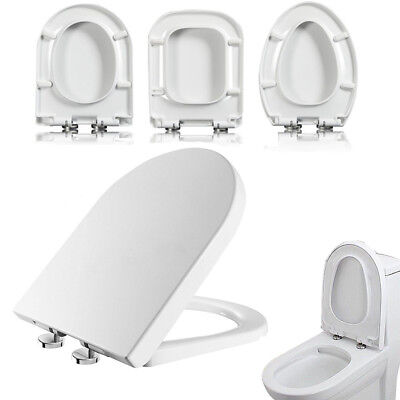 Adjustable Luxury Toilet Seat Soft Close White D V U Square Shape Top Fixing New