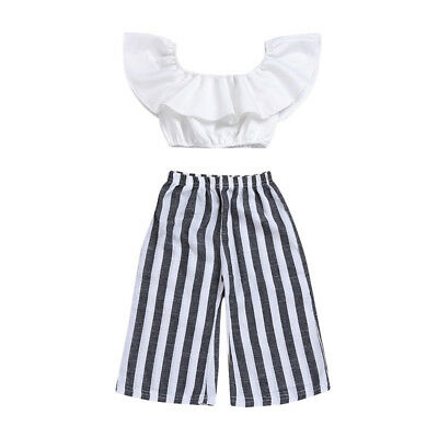 f82f17514fe Toddler Kids Baby Girls Off Shoulder T-shirt Tops+Pants Outfits Clothes  2PCS Set