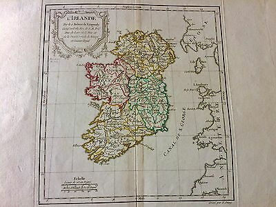 1778 Map Of Ireland Gorgeous By Master Mapmaker De Vaugondy Fine Detail Ireland