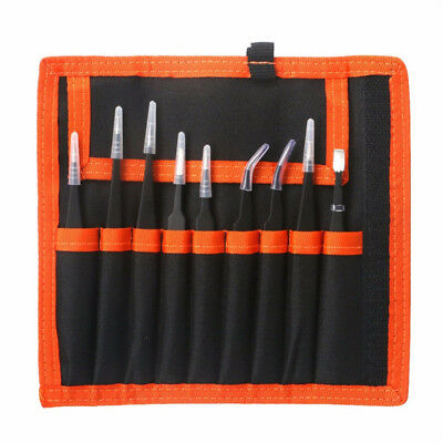 UK Tweezers Kit Precision Hand Tools Set Bag for Electronics Mobile Phone Repair