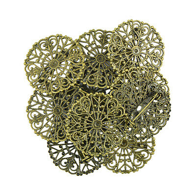 10pcs Filigree Flower Blank Brooch Base Round Pins Back Brooches Settings