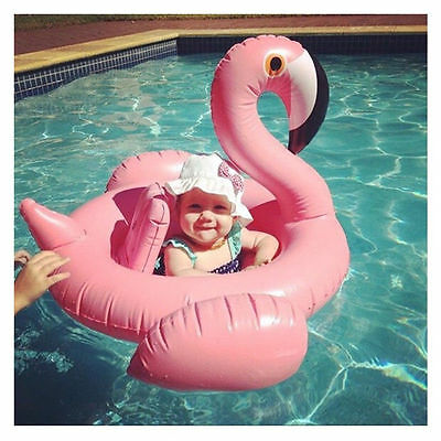 UK Baby Kids Infant Flamingo Inflatable Float Seat Pool Swimming Ring Water Toys