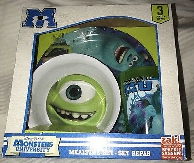 MONSTERS INC. University 3 Pc Mealtime SET Child Feeding Plate Cup Bowl NIB : monsters inc plate set - pezcame.com