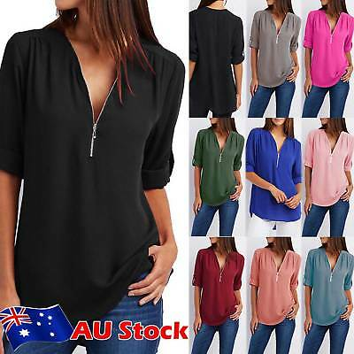 AU Plus Size Womens Chiffon Loose Casual Shirt Ladies Long Sleeve Tops Blouse