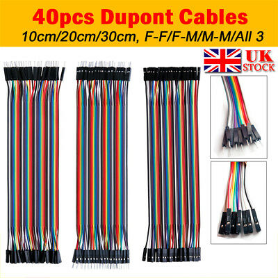 UK 40 Pin Dupont Wire Line Ribbon Jumper Cables Breadboard Arduino 10/20/30CM
