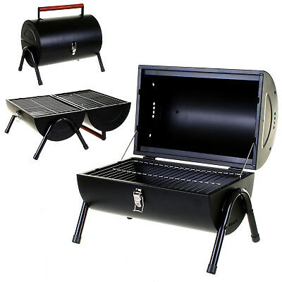Bbq Portable Barrel Barbecue Table Top Outdoor Garden Camping Trip Cooking Black