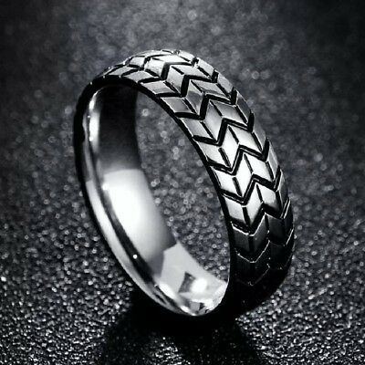 Tire Tread Silver Stainless Steel Ring Men Unisex Various Sizes