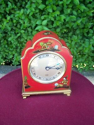 Red Chinoiserie Elliott Of London Mantle Clock - Good Working Condition!