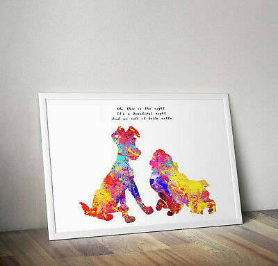 Disney inspired Lady and the Tramp poster print wall art gift decor merchandise