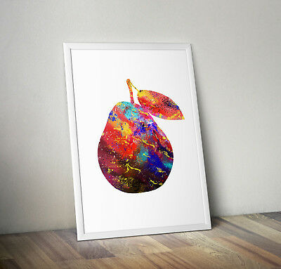 Pear inspired Watercolour poster print wall art gift decor merchandise kitchen