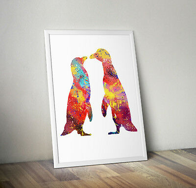 Penguin inspired Watercolour poster print wall art gift decor merchandise