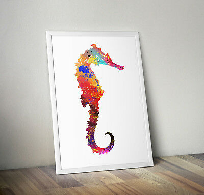 Seahorse inspired Watercolour poster print wall art gift decor merchandise