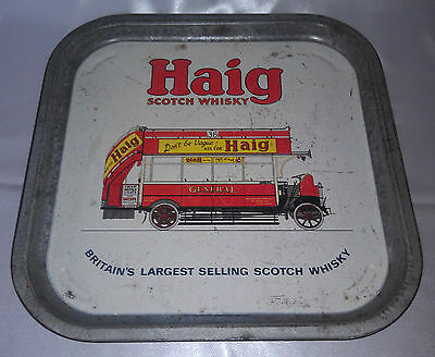 Retro HAIG Scotch Whisky metal tray London red double decker bus vintage barware