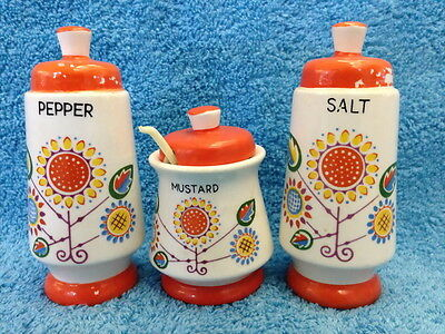 Vintage Japan Salt & Pepper Shaker + Mustard Pot & Spoon Cruet Set