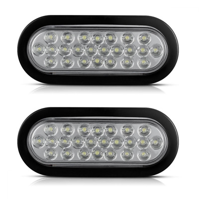 2x Oval White Stop Tail Backup Reverse Light Rubber Flush