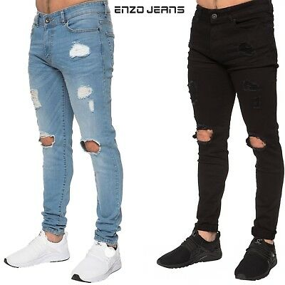 Enzo Mens Ripped Skinny Jeans Stretch Designer Smart Casual Denim Pants Trousers