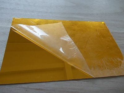 1PC ACRYLIC MIRROR SHEET PLASTIC PERSPEX PLEXIGLASS SAFETY GOLD 100mm x 100MM