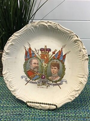 Antique KING EDWARD VII AND Queen ALEXANDRA Coronation Plate 1902 w/PORTRAITS