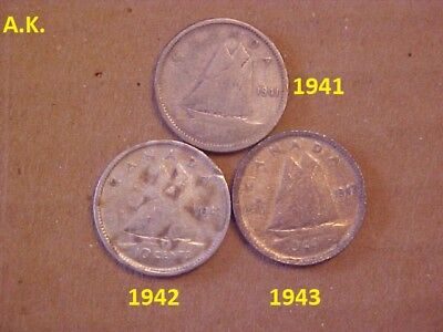 1941,1942,1943 Canadian  dime Coin 80% silver