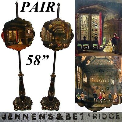"RARE Antique Jennens & Bettridge Papier Mache 58"" Fire Screen PAIR, Paintings"