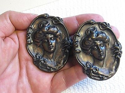 Art Nouveau Style Antique Brass Tone Repousse Cameo Raised Relief Clip Earrings