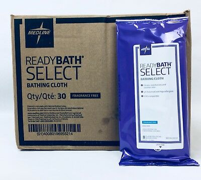 ReadyBath Select Medline Washcloths, Case of 24 Packages, 240 Total Washcloths