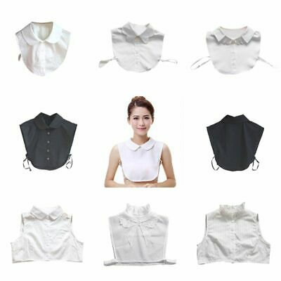 Women Peter Pan Lapel Fake Collar Detachable Half Shirt Blouse Bibs False Collar