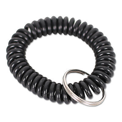 UNIVERSAL OFFICE PRODUCTS Wrist Coil Plus Key Ring, Plastic, Black, 6/Pack