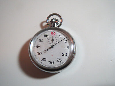 VINTAGE SWISS MADE CHROME PLATED POCKET STOPWATCH - TIMES to 30 MINS @ 1/5s
