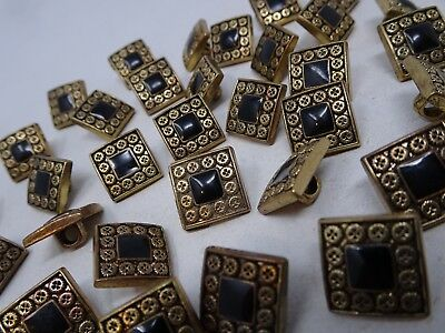 Vintage Black Antique Gold Square Metal Buttons Ornate Border 13mm Lot of 2 A209