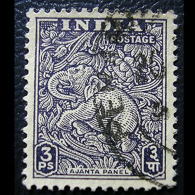 INDIA 1949 Yt IN 7 PANEL AJANTA ELEFANTE VIOLETA GRIS 3 p Mi IN 191