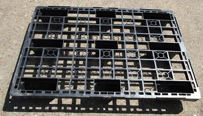 1200 mm X 800 mm EURO EUR 1 CE STAMPED NESTABLE STACKABLE BLACK PLASTIC PALLETS.