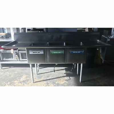 """Used - 3 Compartment Sink (16"""" x 20"""" Compartments) Double drainboards- UD-3CS16X"""