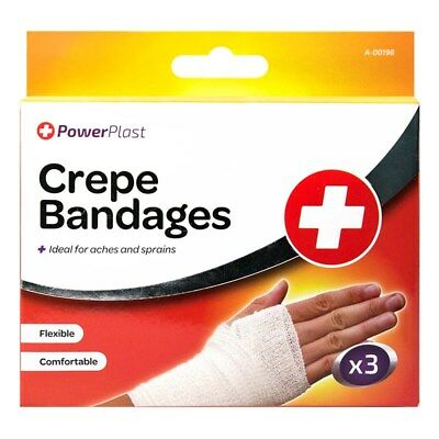 3 Pack CREPE BANDAGES Assorted Size IDEAL FOR ACHES & SPRAINS Wraps FAST AIDS
