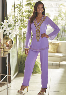 Ashro Lavender Purple Beaded Dress Neri Pant Set Formal Wedding Party M L 2X PLU