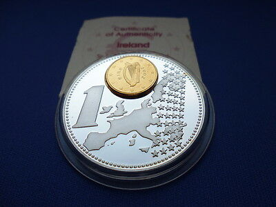 Inlay-Prägung Irland / 1 Euro Cent / Silver Plated / Proof Like
