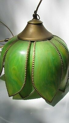 Tulip hanging lamp portable with chain Marbleized green petals with beaded trim