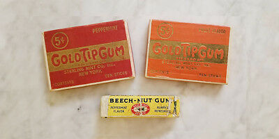 2 Vintage Gold Tip Gum Boxes - Beechnut Peppermint 5 Pack - Candy Lot