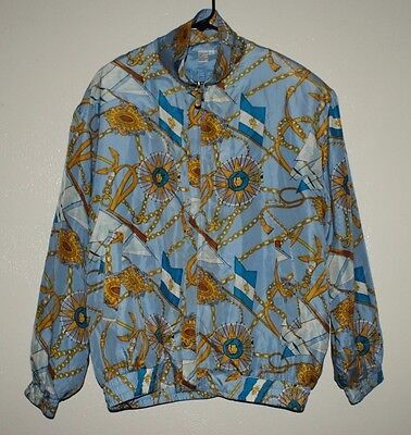 Vtg 80S 90S Nautical Blue & Gold Chain All Over Print Silk Bomber Jacket Hip Hop