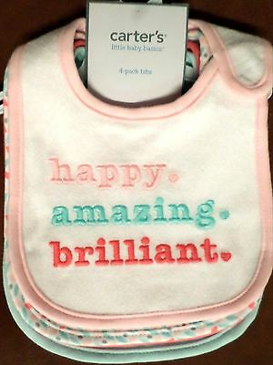 Carter's Baby Girls Teething Bibs Set/4 'Happy'/Circles/Hearts Cotton One Size