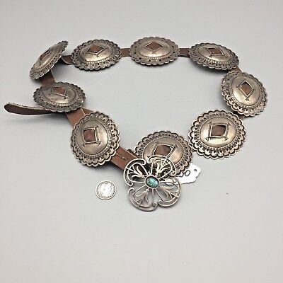 Vintage, First Phase Style, Sterling Silver Concho Belt
