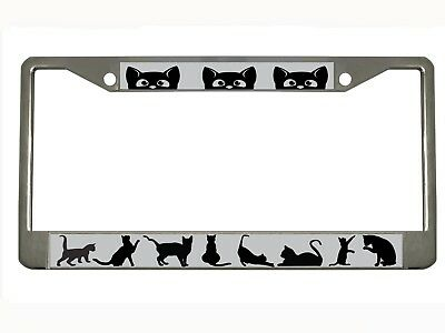 cat Metal Auto License Plate Frame Car Tag Holder