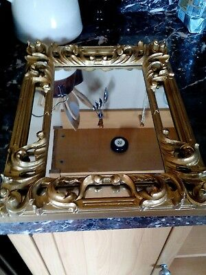 VTG Italy Ornate Florentine Hand Carved Wall Hanging Mirror Gold Gilt