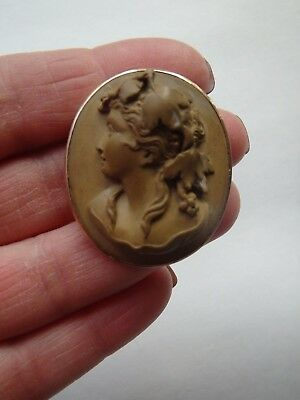 Antique Victorian 10k Gold Hand Carved Bacchante Lava Cameo Pin Or Brooch